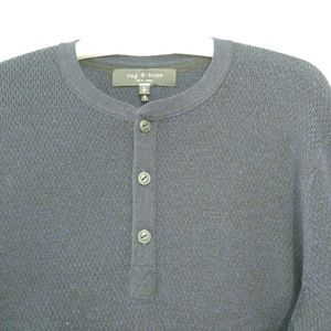 Rag and bone henley knit sweater in navy